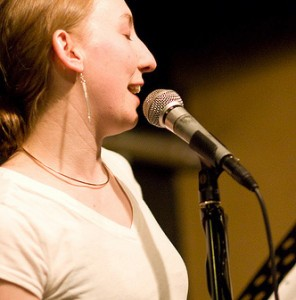 Simone Beaubien performs at Erotic Poetry Night at the Cantab Lounge in 2009. Photo by Marshall Goff.