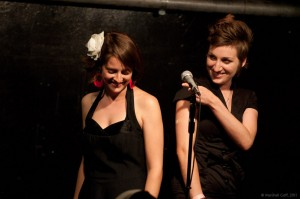 "April and Carrie gear up to perform ""The Other Woman"" at the team's feature at the Cantab. Photo by Marshall Goff."