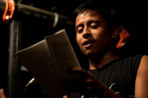 Carlos Williams reads on the Cantab open mic. Photo by Marshall Goff.