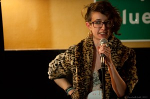 Cassandra de Alba tells it like it is in seventeen syllables at the Dirty Haiku Slam. Photo by Marshall Goff.