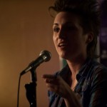 Carrie Rudzinski brings a new poem to sacrifice for the 2012 team slams. Photo by Marshall Goff.
