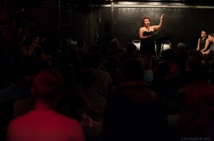 Melissa Newman-Evans features in front of a packed house. Photo by Marshall Goff.