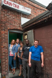 The 2013 Boston Poetry Slam Team, pictured at the venue's staff entrance. Photo by Marshall Goff.