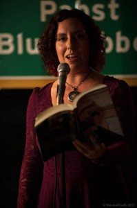 Meaghan Ford reads a cover straight out of the brand-new Cantab anthology. Photo by Marshall Goff.