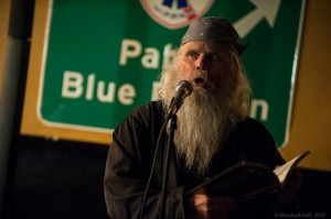 Longtime Boston reader Peddlar Bridges performs at the Cantab anthology release party. Photo by Marshall Goff.