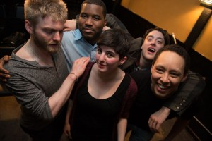 The 2015 Boston Poetry Slam team, from L to R: Sean, Mckendy, Sophia, Bobby, Marshall. Photo by Marshall Goff at the Boston Poetry Slam Team Selection Finals.