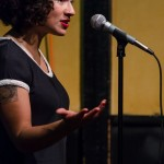 Melissa Lozada-Oliva makes a point during her feature set. Photo by Rich Beaubien.