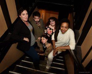 The 2018 Boston Poetry Slam Team is: Meaghan Ford, John Pinkham, Sara Mae, Allison Truj, Neiel Israel. Photo by Marshall Goff.