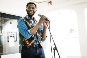 Pushcard Prize winner and teaching artist Emmanuel Oppong-Yeboah. Photo by Tom Kaszuba.