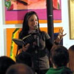 Caroline Harvey, workshop leader, features at the 2009 Attleboro Arts Museum Poetry Slam. Photo by Gary Hoare.