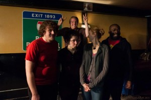 The 2013 Boston Poetry Slam Team in a post-Finals candid by Marshall Goff.