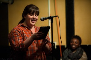 Emily Carroll reads at the Boston Poetry Slam at the Cantab Lounge. Photo by Marshall Goff.