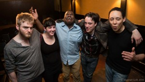 The 2015 Boston Poetry Slam Team. Sean is making the same face he made last year. Photo by Marshall Goff.