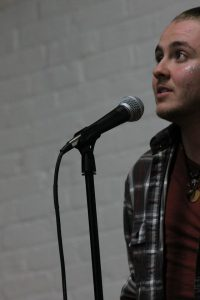 Robbie Dunning performs at Easthampton's Pulp Slam. Photo by Christopher Clauss.