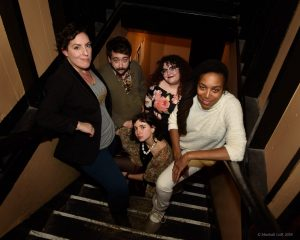 The 2018 Boston Poetry Slam Team is: Meaghan Ford, John Pinkham, Sara Mae, Allison Truj, Neiel Israel. Photo by Marshall Goff.