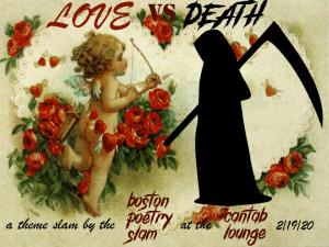 Love vs. Death Poetry Slam at the Boston Poetry Slam. Graphic courtesy Rat Queen Cassandra de Alba.